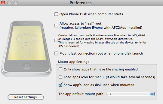 Phone Disk Preferences