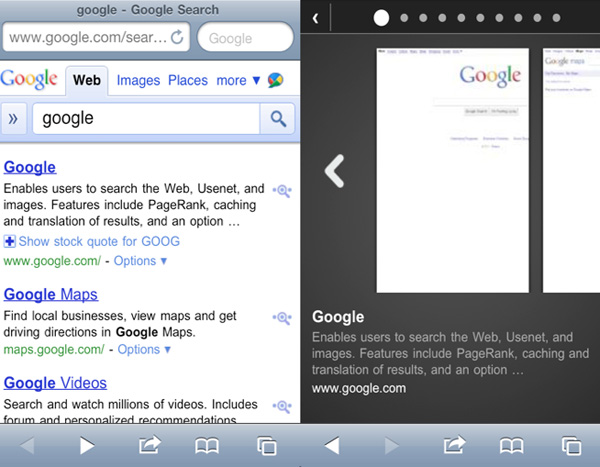 Google Instant Previews in iOS