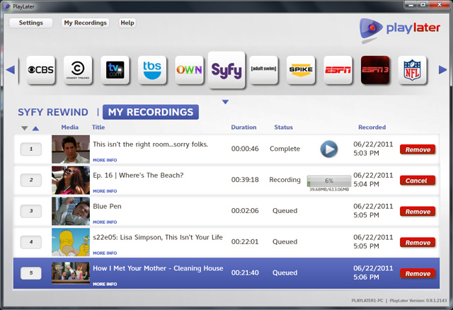 PlayLater online DVR