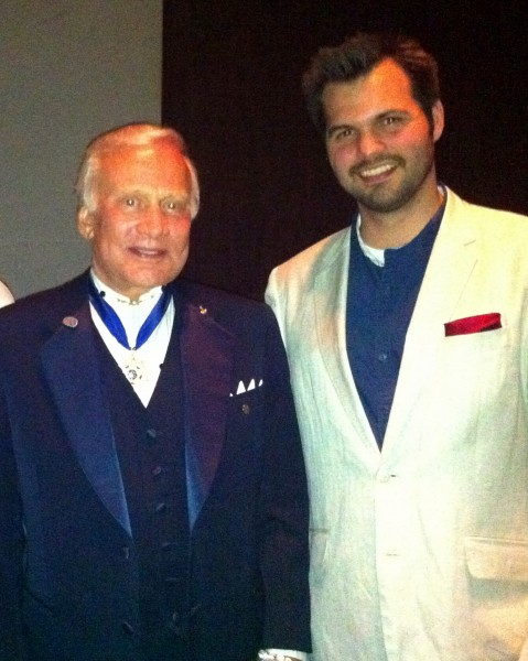 Buzz Aldrin poses at the Kennedy Center's for NASA Space Philharmonic Orchestra night