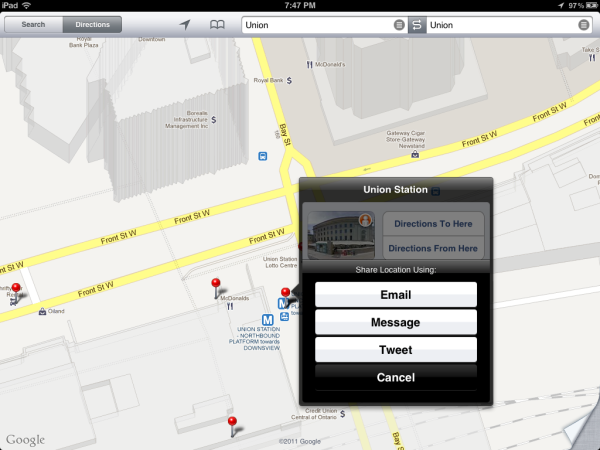 iOS5 Maps Location Sharing
