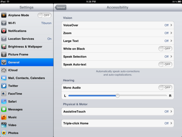 iOS5 Settings Accessability