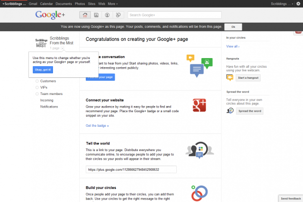 Google+ Page Switching