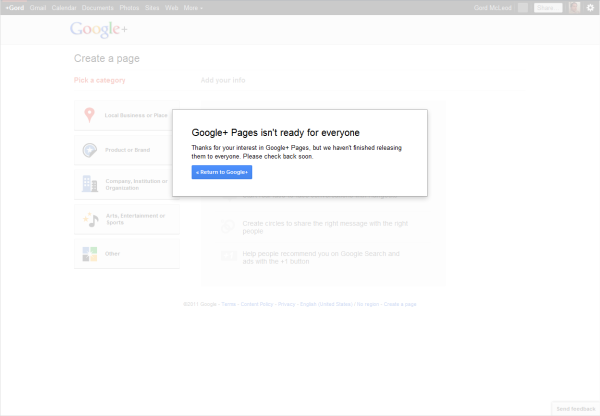 Google+ Pages Not Ready