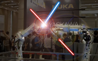 Robots Fighting with Lightsabers