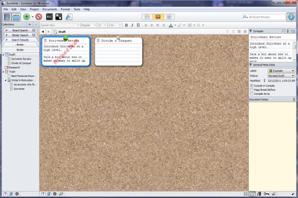 Scrivener Corkboard