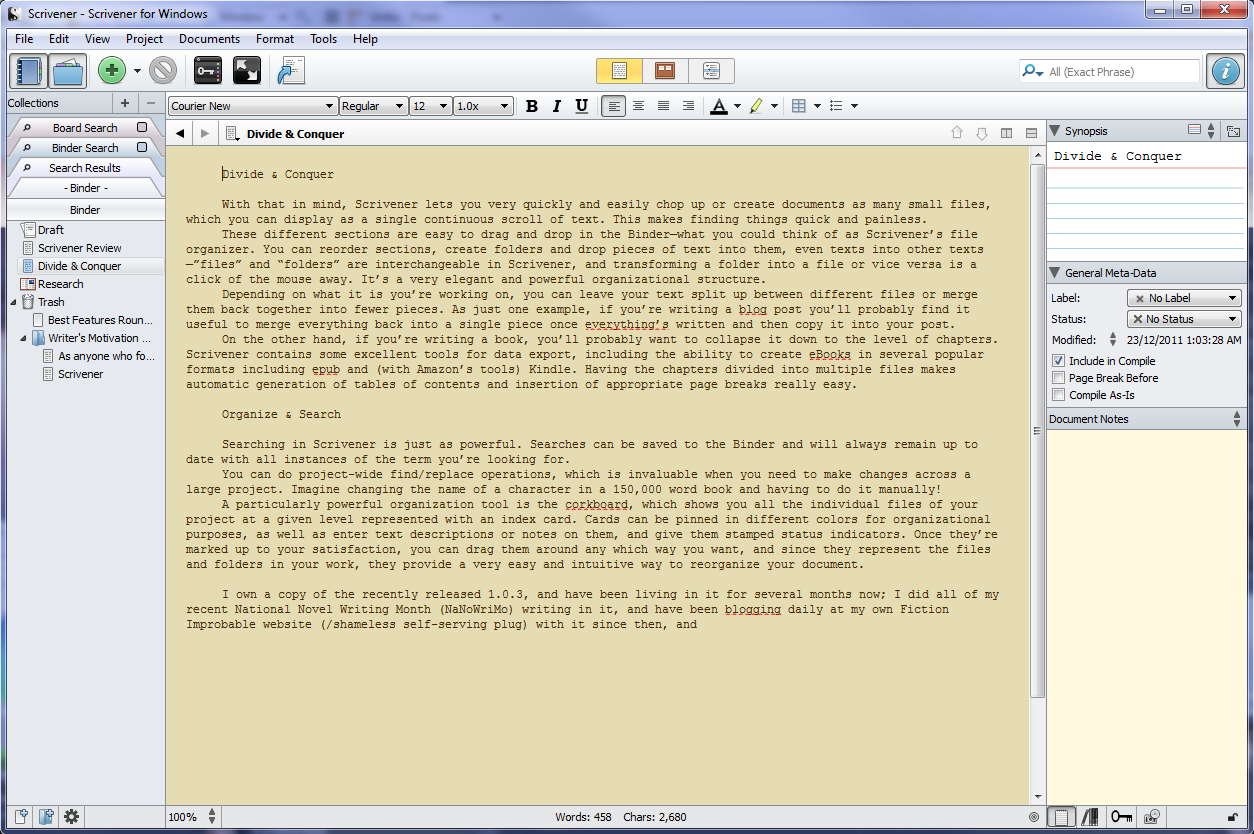Scrivener Interface
