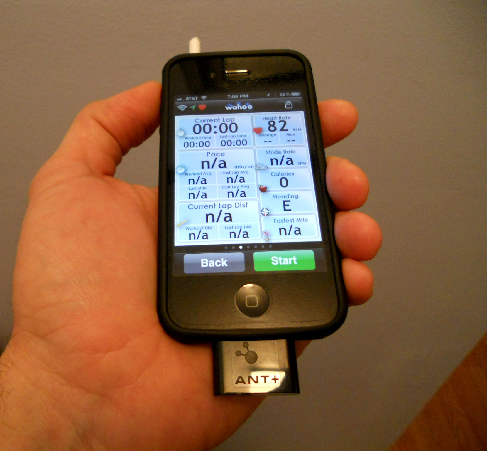 Wahoo Fitness Sensor Key Plugged into an iPhone 4S