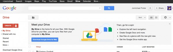 What you see when you first enter Google Drive