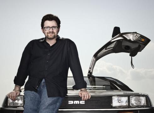 Ernie Cline and his DeLorean