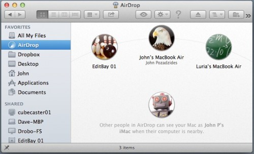 AirDrop in Mac OS X Mountain Lion