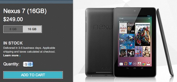 Google Nexus 7 16GB is back in stock