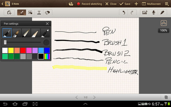 Samsung Galaxy Note 10-1 Drawing Tools