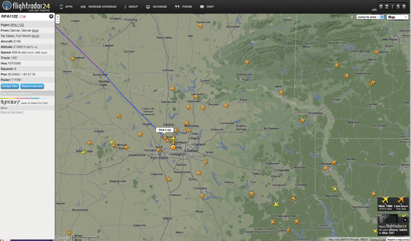 Flightradar 24 map view