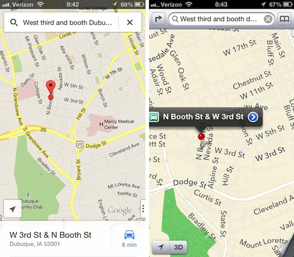 Google Maps - Apple Maps - Comparison 1