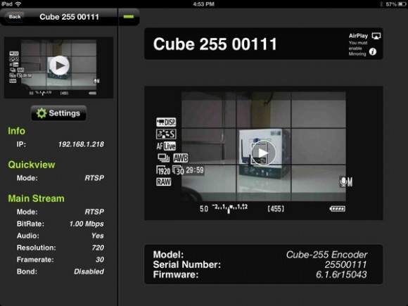 Teradek Cube 255 - TeraCentral App