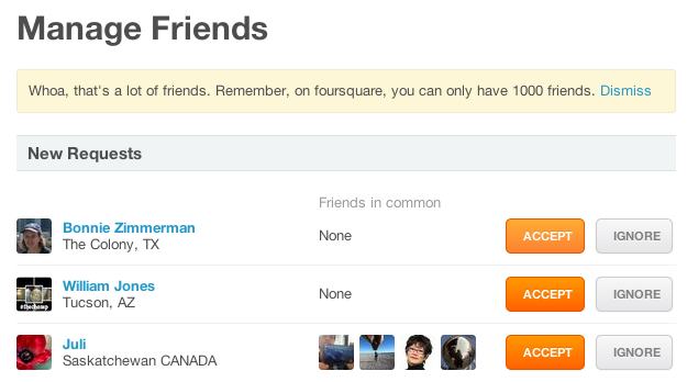 Foursquare Says I Have Too Many Friends