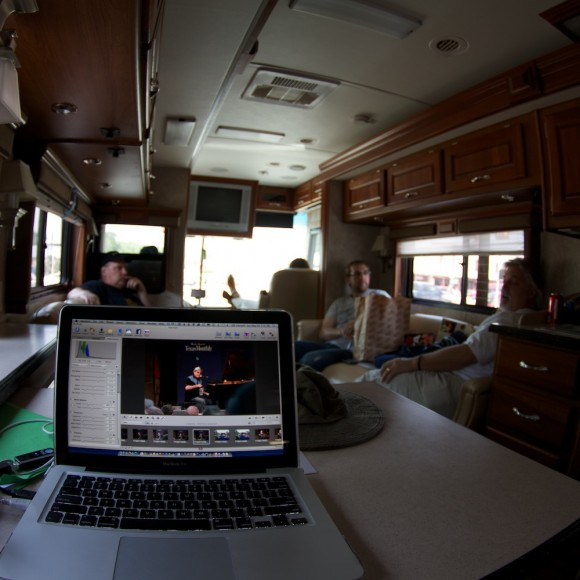 Editing on The Troubadour, TX Tour Bus