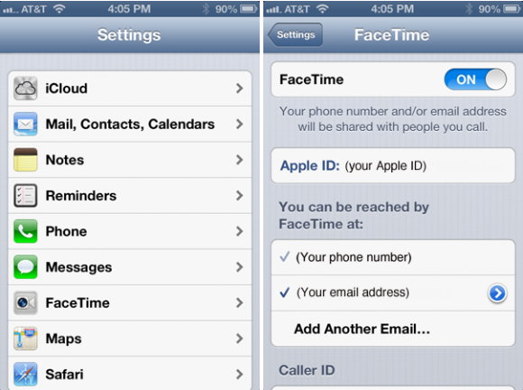 FaceTime Settings for iPhone