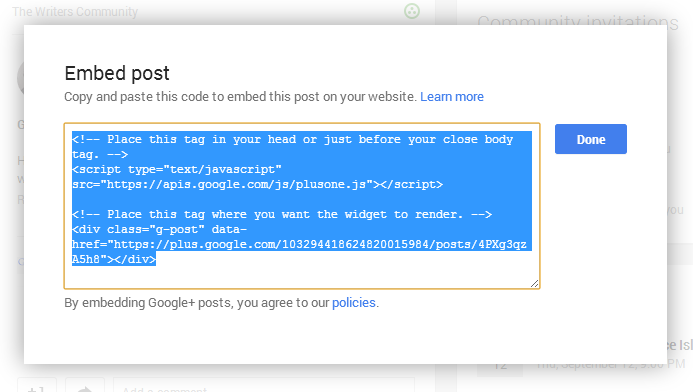 Google+ Embedded Posts 2
