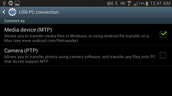 Media Device MTP Option