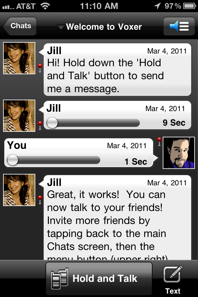 voxer talk screen