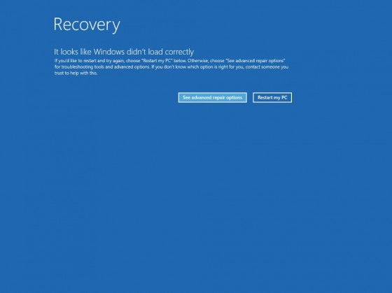 1 - Recovery screen