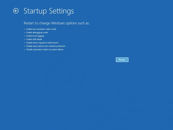 5 - Startup Settings Screen