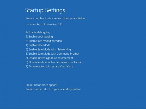 6 - Startup Settings Screen 2 with safe boot options