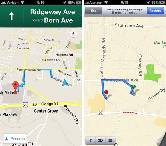 Google Maps - Apple Maps - Comparison 3