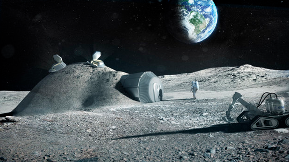 Lunar Base Made of Regolith