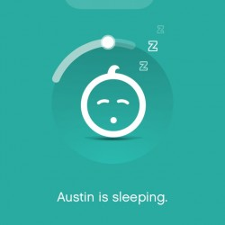 App screen showing a sleeping baby and an estimated wake time.