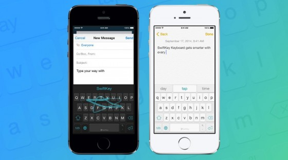SwiftKey for iOS 8 comes with a dark and light theme.