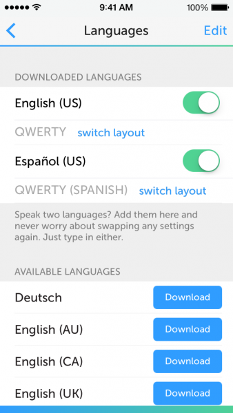 SwiftKey supports several languages, and can automatically switch between two.