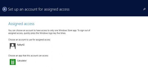 6 - Assigned access with app chosen