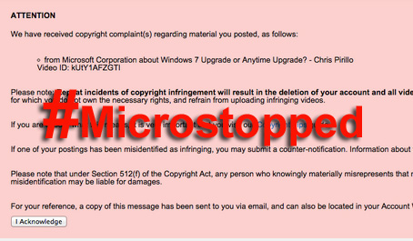 Microstopped takedown warning