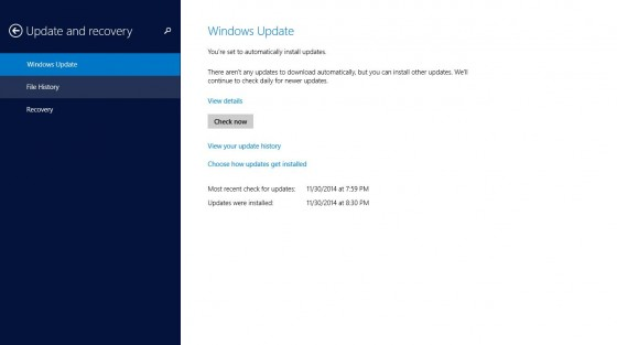 Update and Recovery - Windows Update