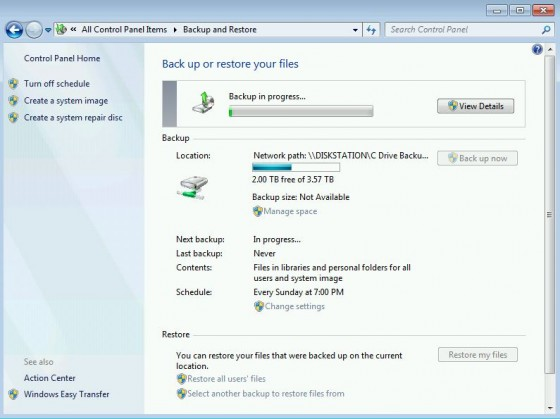 Win7 Backup in progress