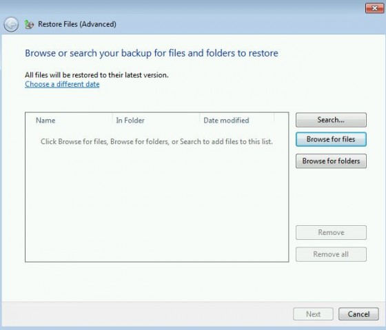 Windows 7 Restore-browse