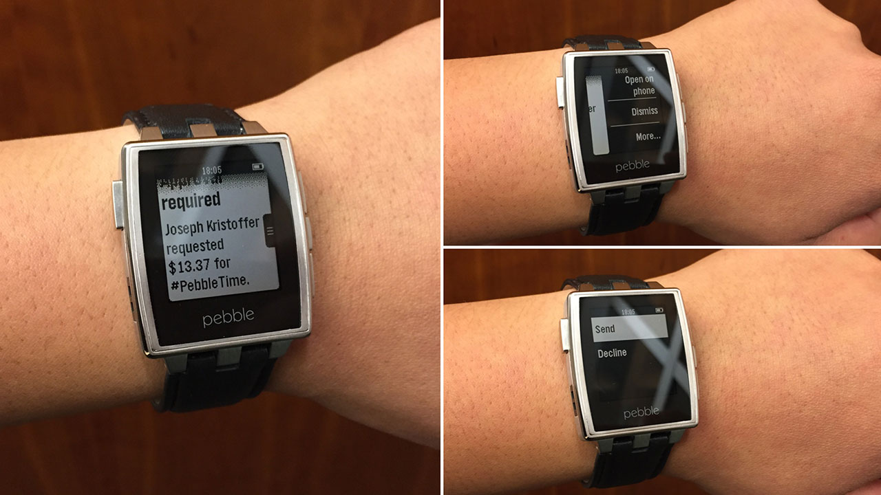 Pebble displaying Android Wear notifications