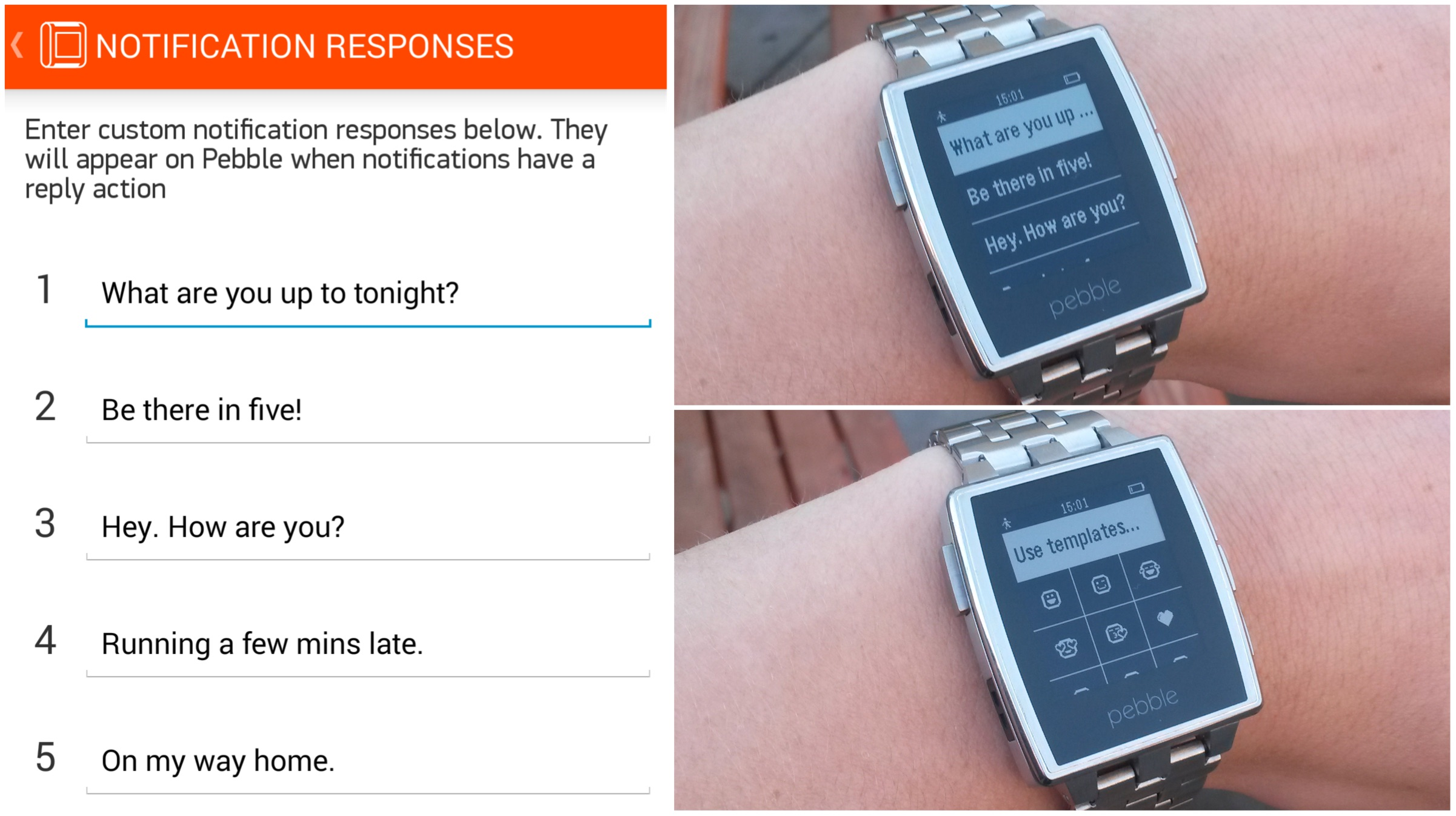 Pebble user-defined responses