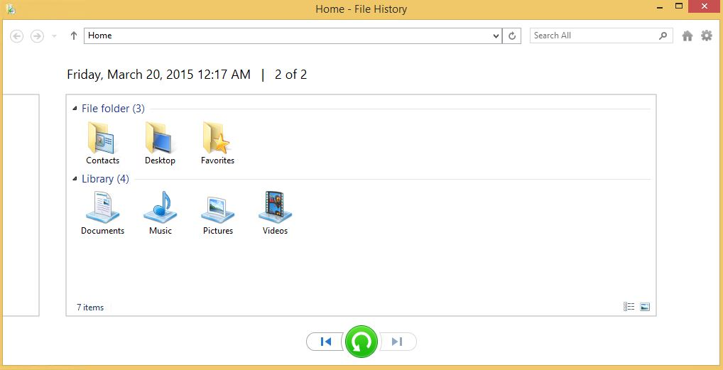 Home - File History