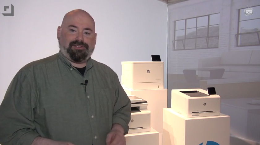 Jeffrey Powers with HP Laserjet printers