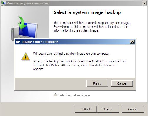 System Recovery-re-image your computer-no image found