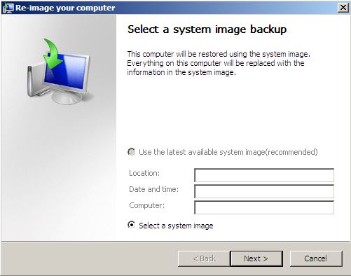 System Recovery-re-image your computer-select a system image backup