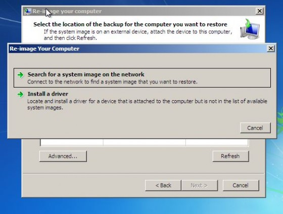 System Recovery-re-image your computer-select network location