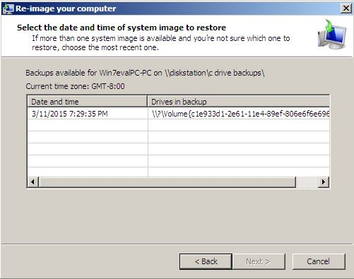 System Recovery-re-image your computer-select system image-date and time