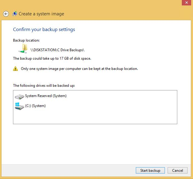 Win 8 System Image confirm
