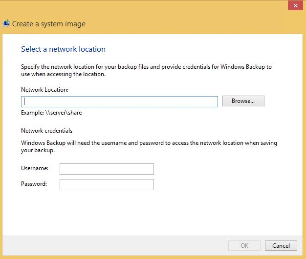 Win 8 System Image network save location select