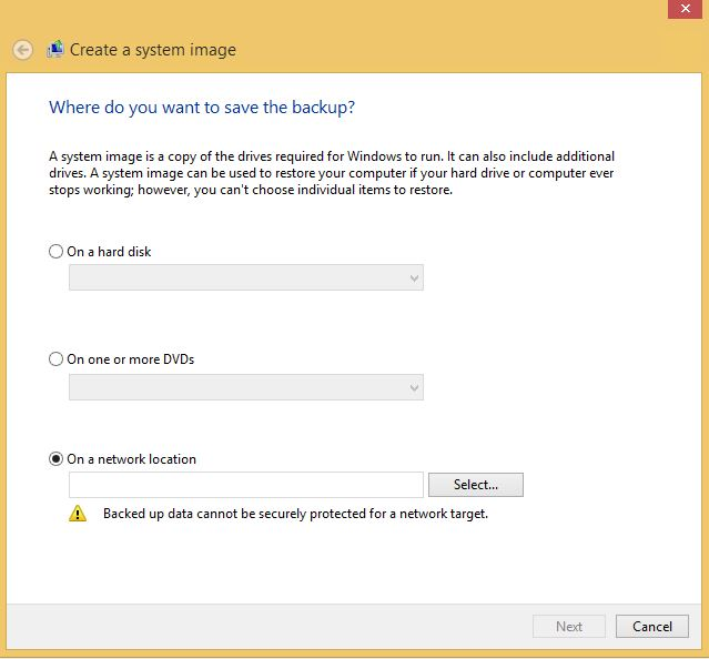 Win 8 System Image save location select